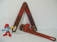 Rustic Red Metal Tools Decorative Set - Chippy Red Paint Rusty Tools Artisan Workshop Display - Vintage Fuller Quality 10 Inch Monkey Wrench $18.00 by DivineOrders