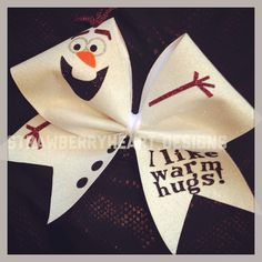 Olaf cheer bow by StrawberryheartBows on Etsy https://www.etsy.com/listing/231752855/olaf-cheer-bow