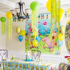 Spongebob, spongebob party, spongebob decor, DIY jellyfish, party, third birthday party