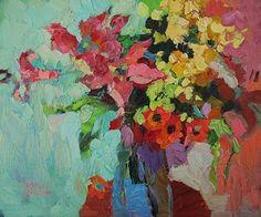larisa aukon paintings | Larisa Aukon, I Like Flowers! by Larisa Aukon Oil ~ 10 x 12