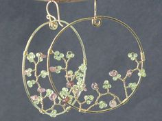 Bohemian 14 Hammered hoops with peridot and by CalicoJunoJewelry, $114.00