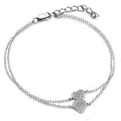 Srebrna bransoletka serca zdobione cyrkoniami - Biżuteria srebrna dla każdego tania w sklepie internetowym Silvea