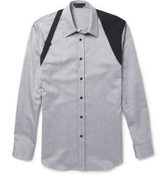 Alexander McQueen Harness-Detailed Herringbone-Weave Cotton Shirt | MR PORTER