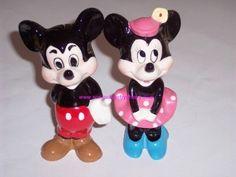 2 Walt Disney Vintage Mickey & Minnie Ceramic Figurines