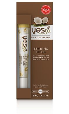 yes to coconut COOLING LIP OIL PRICE: $4.99 FOR: VERY DRY LIPS SIZE: 0.3 FL OZ / 8 ML