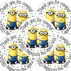 20  2 Inch round Despicable Me Birthday sticker labels by bafoodle, $6.00