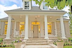 Traditional Front Porch - traditional - exterior - new orleans - Highland Homes, Inc. Brick=Cherokee Old Orleans Exterior Front Doors, Exterior Paint, Exterior Design, Brick Design, Front Entry, Exterior Colors, Gray Exterior, Garage Doors, Brick Porch