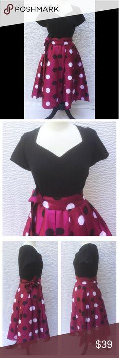 "New Eshakti Polka Dot Fit & Flare Dress L 12 New Eshakti mixed media fit & flare dress L 12 Measured flat: Underarm to underarm: 37"" Waist: 31"" Length: 43"" Sleeve: 16"" Eshakti size guide for 12 bust: 38 1:2"" Cotton/spandex, woven jersey knit bodice, medium stretch, w/ bodice darts & back zipper. Seamed waist w/ removable sash tie belt, flared skirt w/ side seam pockets. Lined in polytaffeta. Skirt: Polyester, woven dupioni, high sheen, light textured slubs. Dry clean New w/ cut out Eshakti…"