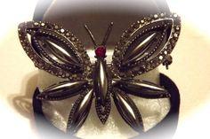 Beautiful Rare Weiss Hematite Navette Marcasite & Rhinestone Butterfly Brooch #Weiss