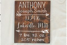 Birth Stats sign, Rustic Nursery Room decor, Baby Name Sign, Personalized Baby Gift, Birth Announcement Sign Birth Announcement Sign, New Baby Announcements, Nursery Wood Sign, Nursery Room, Quilted Christmas Gifts, Baby Dedication, Baby Boy Quilts, Baby Name Signs, Personalized Baby Gifts