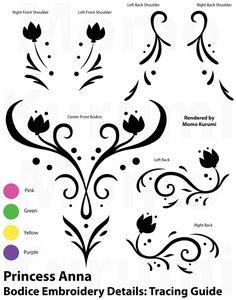 Frozen's Princess Anna Tracing Stencil: Bodice by MomoKurumi