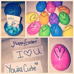 Easter basket for girlfriendboyfriend im so hoppy youre in my little easter present for my boyfriend i put little sayings inside the eggs with his negle