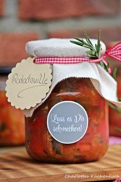 Kochen, Rezept, Ratatouille, Ratatouille im Glas, BBQUE, Grillen, Paprika, Aubergine, Geschenke aus der Küche