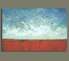 Large Abstract Prairie Painting - Red Earth Plains (24x36) Original Acrylic Wall Decor  - Sage Mountain Studio
