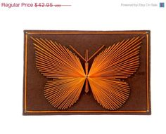 SALE Butterfly String Art Wall Hanging by TheOrangeCollective, $34.36