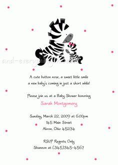 Zebra Baby Shower Invitation (Birthday)