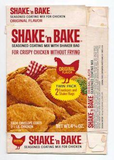 Vintage 1976 General Foods Shake 'n Bake Chicken Mix Box Shake And Bake Pork, Homemade Shake And Bake, Shake N Bake Chicken, Retro Recipes, Vintage Recipes, Vintage Food, Sweet Memories, Childhood Memories, School Memories