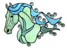 Seafoam is stained glass horse all in seafoam green and blue found at EquineArtglass.com.