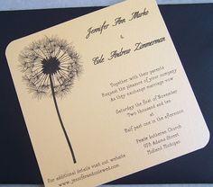 Dandelion wedding invitation purple silver by TheExtraDetail, $1.99