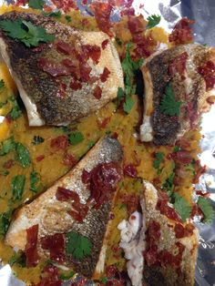 Grilled seabass in sweet potato bed with fennel and coriander