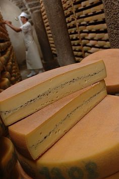 """Morbier"" cheese from France. The thin layar of ash seperates the morning milk from the evening milk."