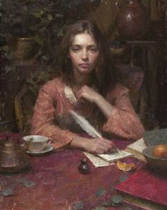 'Assignment', by American Artist, Morgan Weistling (b. Morgan Weistling, Lost Art, Letter Art, Art Studies, Beauty Art, Portrait Art, American Artists, Female Art, Les Oeuvres