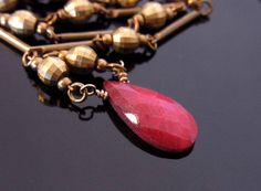 Ruby Necklace Red Necklace Ruby Pendant Raw Brass by QuietRobin, $60.00