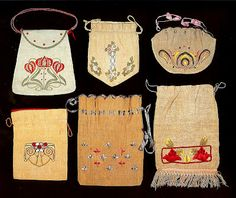 Arts  Crafts Handbags. Embroidered Linen. Circa 1900-1912.