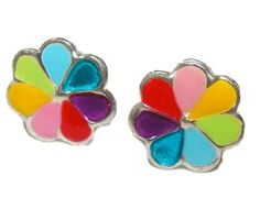 Multicolor Enamel Flower Post Earrings Sweetly Crafted in SOLID Sterling Silver (not plated) Diameter Brand new and arrives with a velour keepsake pouch! AGES 4 AND UP! Flower Earrings, Flower Stud, Stud Earrings, Kids Jewelry, Cufflinks, Sterling Silver, Flowers, Crafts, Accessories