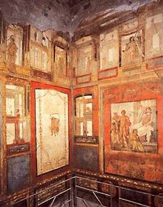 Pompeii, Fourth Style wall paintings in the Ixion Room (Triclinium P) of the House of the Vettii, ca. 70-79 AD