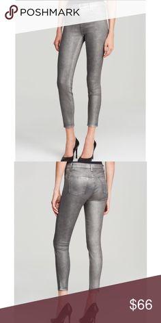 "J Brand Skinny Leg Metallic Jeans NWOT J Brand Jeans 910 stretch-denim jeans in midnight metal wash (metallic gray). Low rise. Skinny leg. Five-pocket style. Button/zip fly closure• cotton/nylon/elastane blend  • approximate measurements waist 14"" rise 8"" inseam 28.25"" J Brand Jeans Skinny"