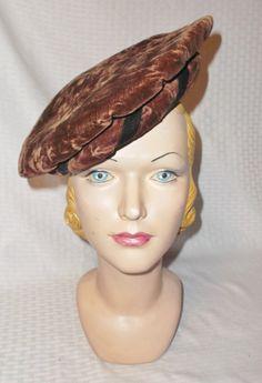Antique Edwardian Winter Brown Velvet Beret by MyVintageHatShop