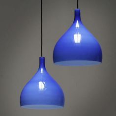 """HOLMEGAARD Blue Pendants, Denmark, circa 1960 