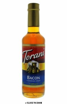 Torani Bacon Syrup. Use in coffee, milkshakes, or even make your cream cheese more bacony.