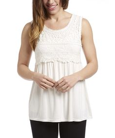 Take a look at this White Crochet Sleeveless Tunic - Plus on zulily today!