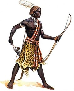illustration of angus mcbride showing a nubian archer of the Kingdom of Kush in century BC African Tribes, African Diaspora, African Culture, African History, Guerrero Tribal, Soldado Universal, Dark Sun, Black Royalty, Tribal Warrior