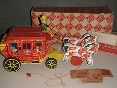 Vintage Fisher Price Toy Gold Star Stagecoach Original Box