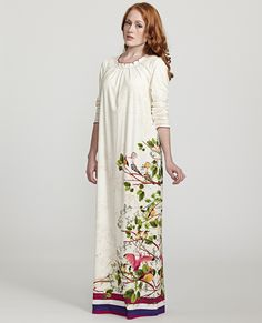 Exotic Floral Print Nightgown with Tuck Pleat Scoop Neckline at The Lingerie Shop New York