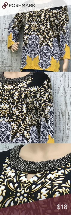 Damask Beaded Top Damask Beaded Top. Size P/L. Like New. JM Collection Tops