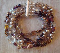 Pearl Garnet Crystal Gemstone and Crystal Multi Strand Beaded Bracelet