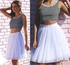 Summer Women O-Neck Striped Beads necklace Mini Tank Top Mesh Ball Gowning Dress.