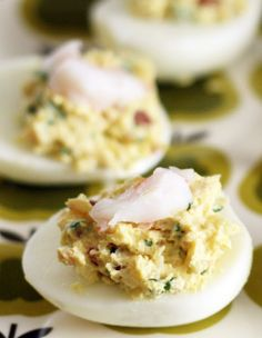 Coconut & Lime, a recipe blog by Rachel Rappaport: Bacon Loves Shrimp Deviled Eggs