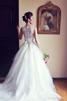 Wholesale Free Shipping Cheap 2014 White A Line Beads Lace Sleeveless Tulle Wedding Dresses Bridal Gowns Wholesalers Online Shop JHS0065, Free shipping, $148.04/Piece | DHgate Mobile