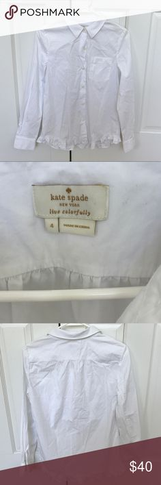 Kate Spade White Cotton Button Down Bls Ruffle hem Near perfect condition - just needs to be ironed!  One front pocket.  2 button cuffs.  Adorable ruffle detail on hem.  Cotton and machine washable.  Fantastic basic with a fun accent!  Size 4. kate spade Tops Button Down Shirts