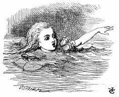 'Alice swimming in a pool of tears', from Alice In Wonderland, by John Tenniel.