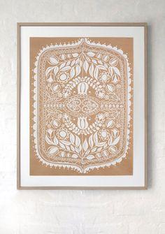 SILK SCREEN PRINT/ White print on recycled kraft paper. Hand silk screen printed Polish folk art inspired design, ready to frame.
