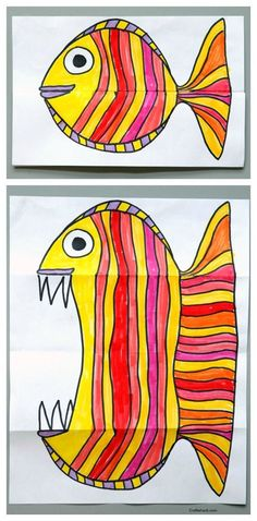 Folding Fish paper art project. Art for kids, easy art projects from CraftWhack | Easy Drawings For Kids, Fish Drawing For Kids, Funny Crafts For Kids, Arts And Crafts For Kids Easy, Drawing Ideas Kids, Easy Origami For Kids, Creative Activities For Kids, Summer Crafts For Kids, Cards For Kids