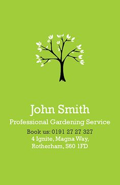 Green leaves business card gardens branches and landscaping design business card design professional gardening service available to personalise on our design online system accmission Image collections