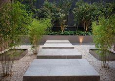 décorer le jardin de gravier, bambous et bassins
