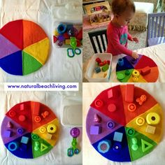 Natural Beach Living: Easy and Fun Activities for Teaching Colors, Montessori color activities, color sorting, DIY Color activities for toddlers Montessori Toddler, Montessori Activities, Toddler Play, Color Activities, Toddler Learning, Infant Activities, Toddler Crafts, Early Learning, Activities For Kids